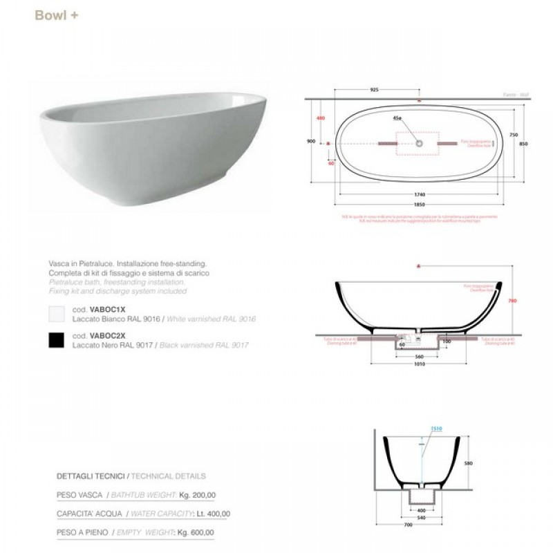Ceramica Globo Bowl Vasca Free Standing