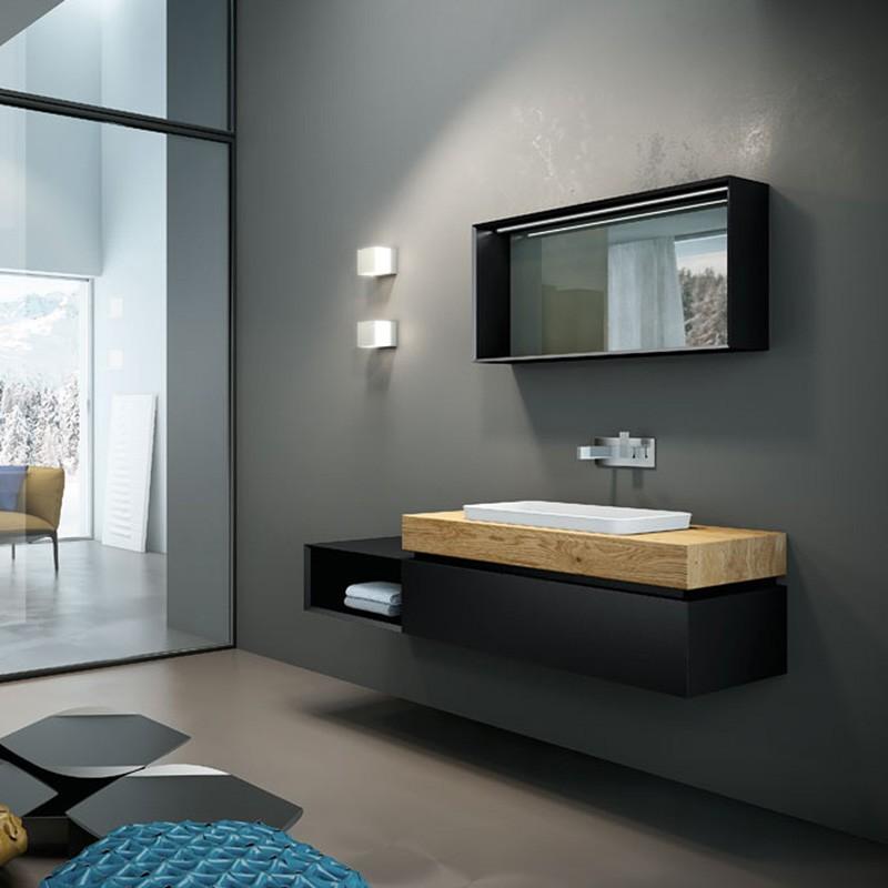 Very wood 05 145 mobili bagno sospesi mobili specchi for Mobili moderni occasioni
