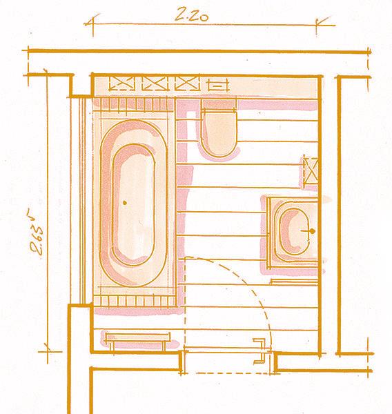 Il bagno privo di barriere architettoniche di Arredobagno360 - planimetria